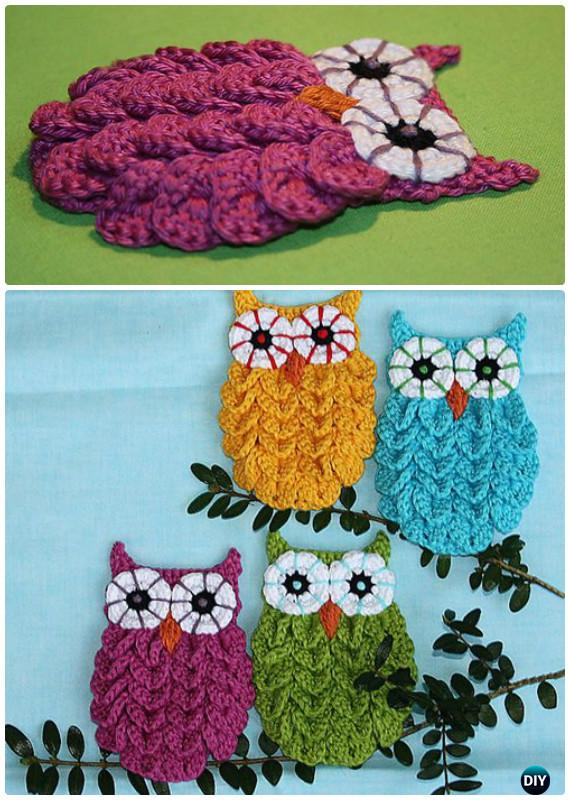 DIY Crochet Crocodile Stitch Owl Free Pattern-Crochet Owl Ideas Free Patterns