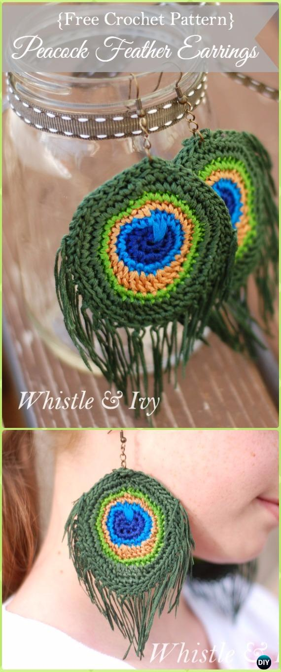Crochet Peacock Earring Free Pattern -Crochet Peacock Projects Free Patterns