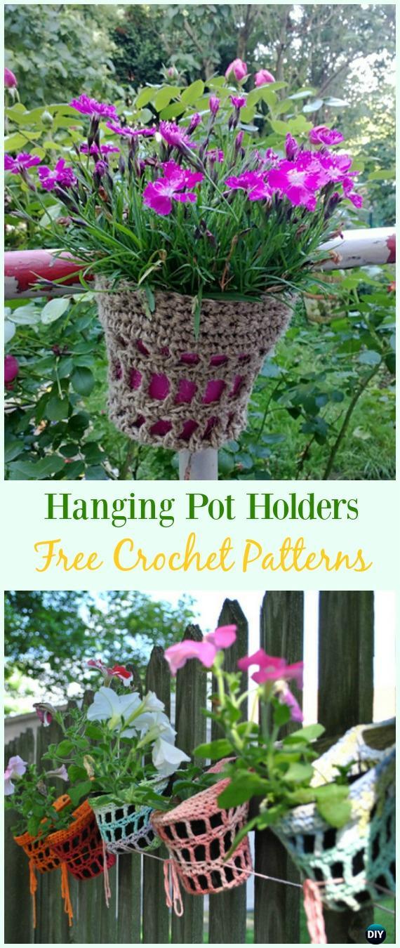 Crochet Hanging Pot Holders Free Pattern - #Crochet #Plant Pot Cozy Free Patterns