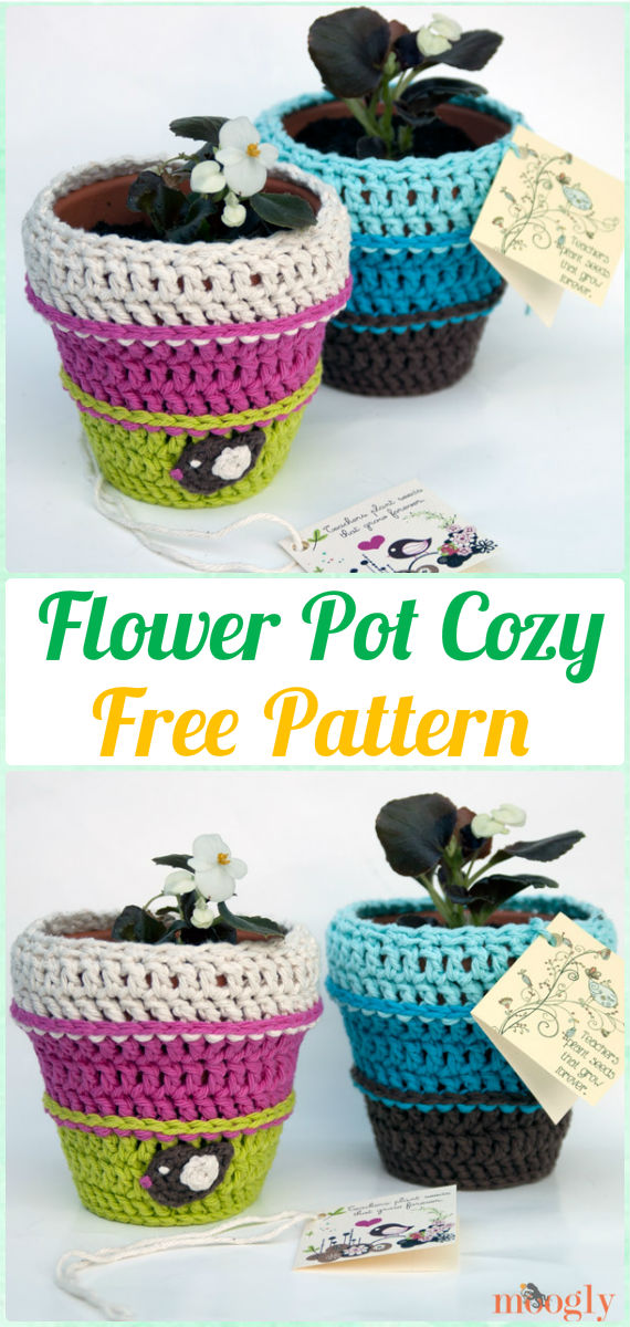 Crochet Planting Seeds Flower Pot Cozy Free Pattern - Crochet Plant Pot Cozy Free Patterns