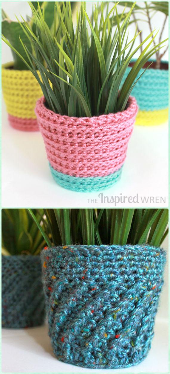 Crochet Summer Sherbet Planter & Spiral Planter Cozy Free Pattern - Crochet Plant Pot Cozy Free Patterns