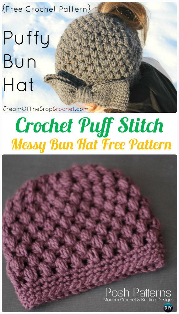Crochet Puff Stitch  Messy Bun Hat Free Pattern -Crochet Ponytail Messy Bun Hat Free Patterns & Instructions
