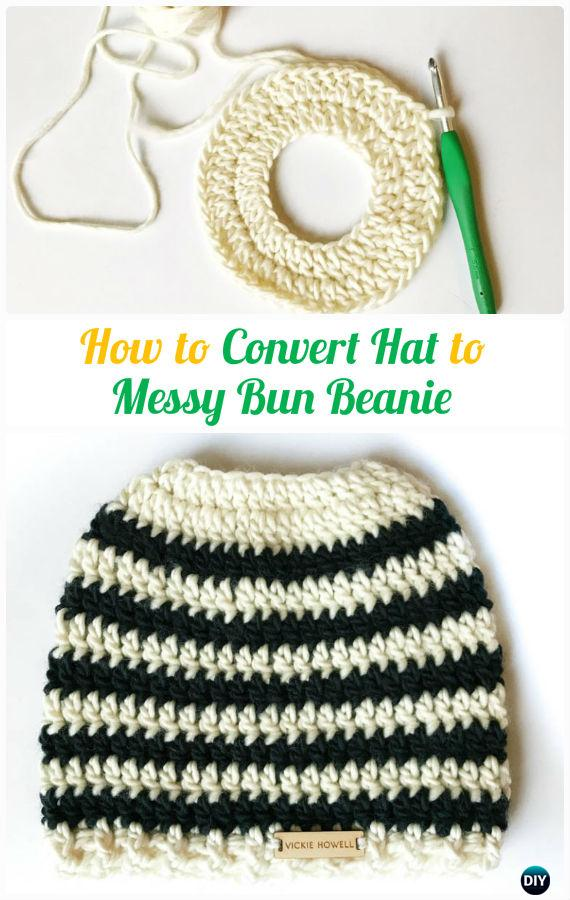 How to Convert Hat to  Messy Bun Beanie Tutorial -Crochet Ponytail Messy Bun Hat Free Patterns & Instructions