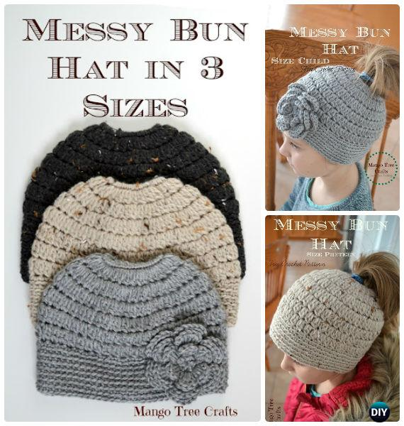 Crochet Ponytail Messy Bun Hat Free Patterns Instructions