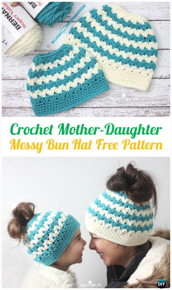 Crochet Mother-Daughter Cluster V-Stitch Messy Bun Hat Free Pattern -Crochet Ponytail Messy Bun Hat Free Patterns & Instructions