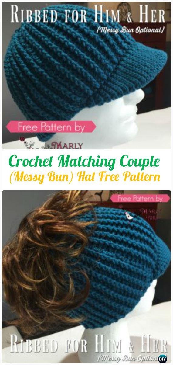 CrochetMatchingCouple Ribbed Messy Bun HatFreePattern -Crochet Ponytail Messy Bun Hat Free Patterns & Instructions