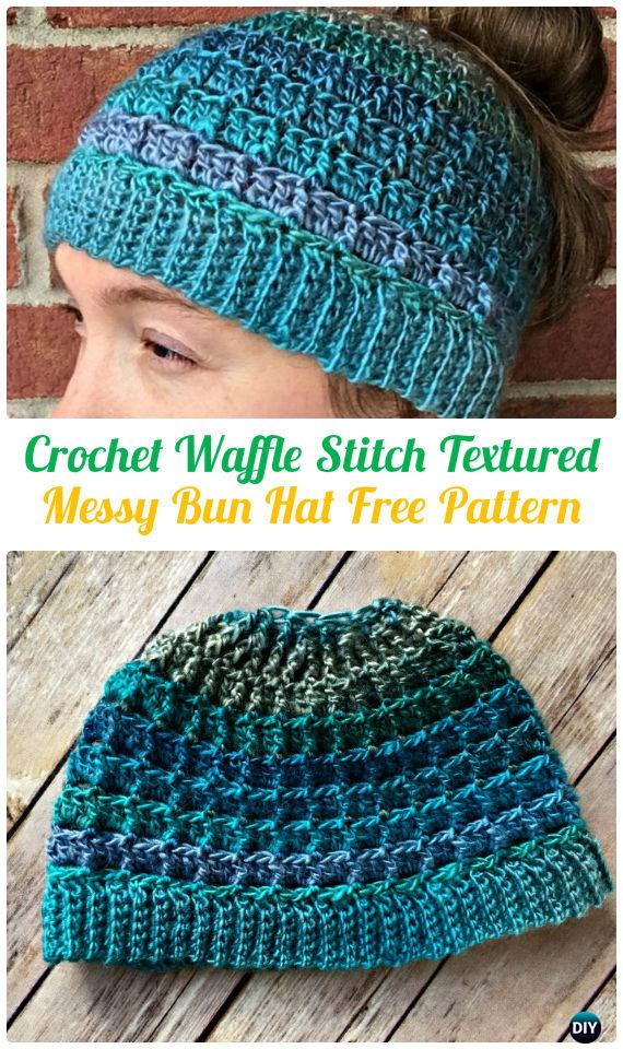 Crochet Waffle Stitch Textured Messy Bun Hat Free Pattern – Crochet  Ponytail Messy Bun Hat Free Patterns   Instructions 7b422e05593