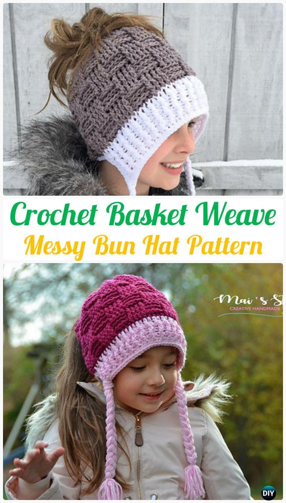 0b60844c2e9 Crochet Basket Weave Messy Bun Hat Pattern - Crochet Ponytail Messy Bun Hat  Free Patterns