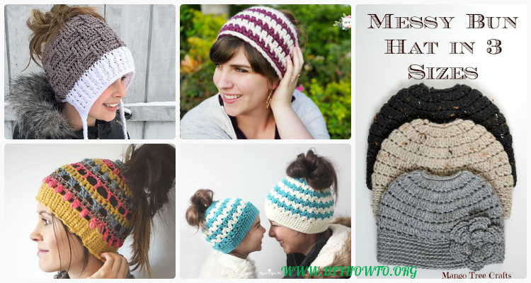 708d622dd01 Crochet Ponytail Messy Bun Hat Free Patterns  Instructions