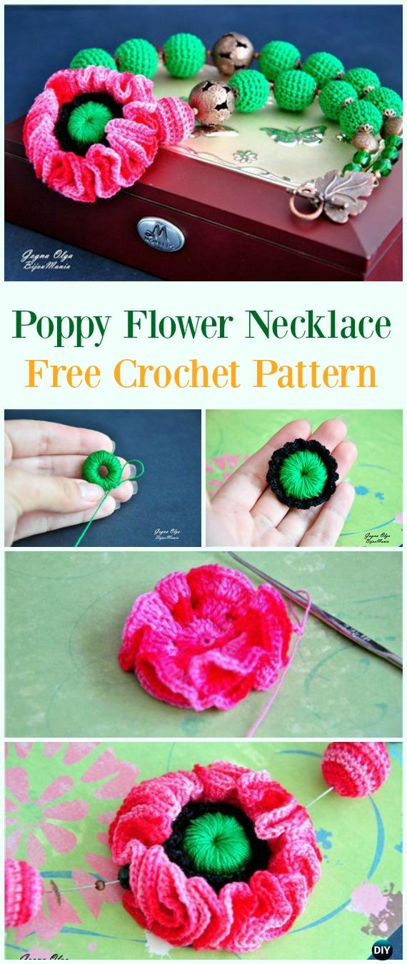Crochet Poppy Flower Necklace Free Pattern - #Crochet #Poppy Flower Free Patterns