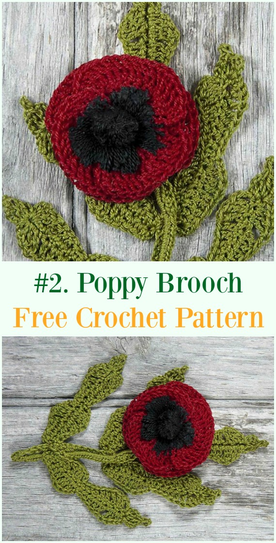 Crochet Poppy Brooch Free Pattern - #Crochet #Poppy Flower Free Patterns