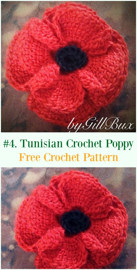 Tunisian Crocheted Poppy Flower Free Pattern - #Crochet #Poppy Flower Free Patterns