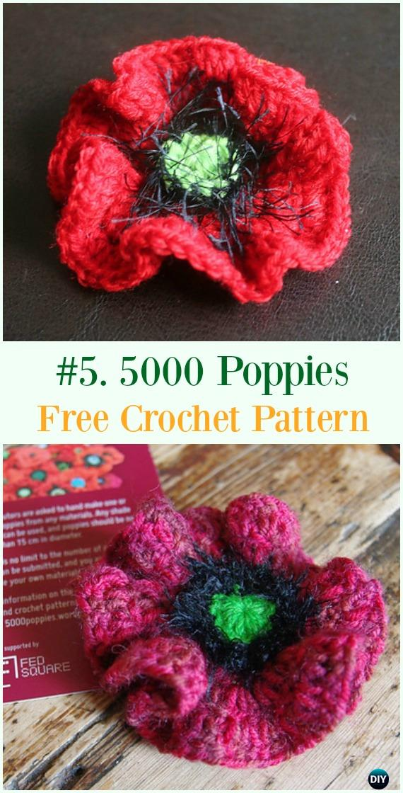 Crochet 5000 Poppies Flower Free Pattern - #Crochet #Poppy Flower Free Patterns