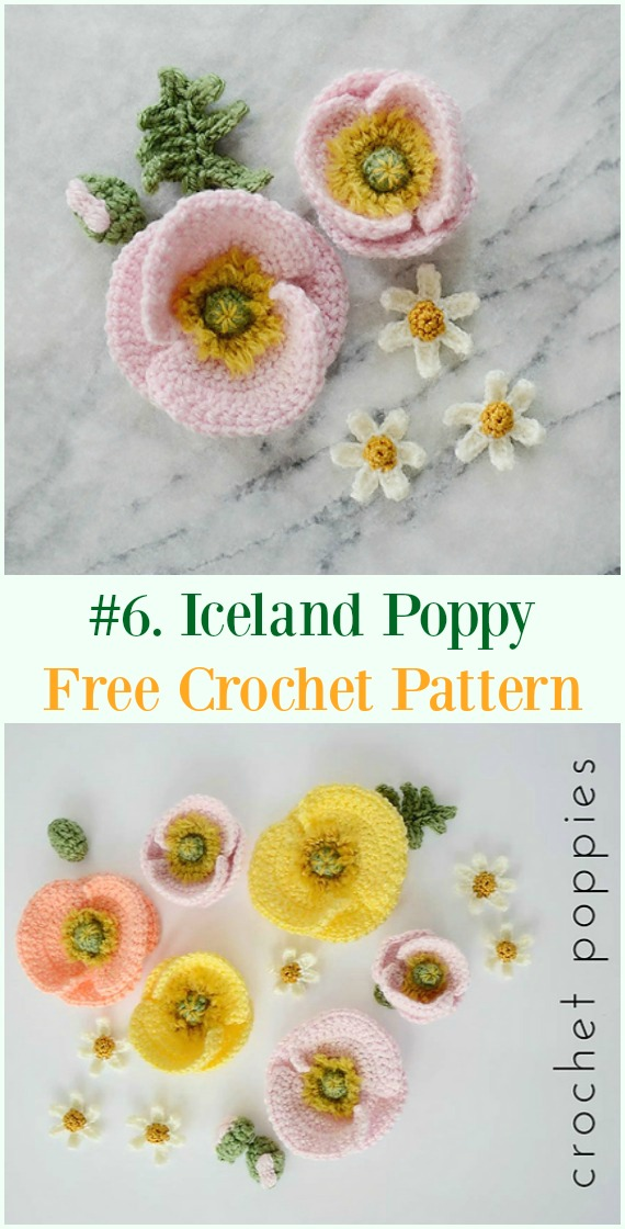 Crochet Iceland Poppy Flower Free Pattern - #Crochet #Poppy Flower Free Patterns