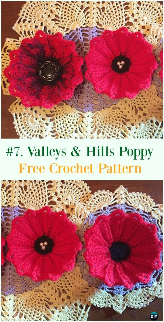 Crochet Valleys and Hills Poppy Flower Free Pattern - #Crochet #Poppy Flower Free Patterns