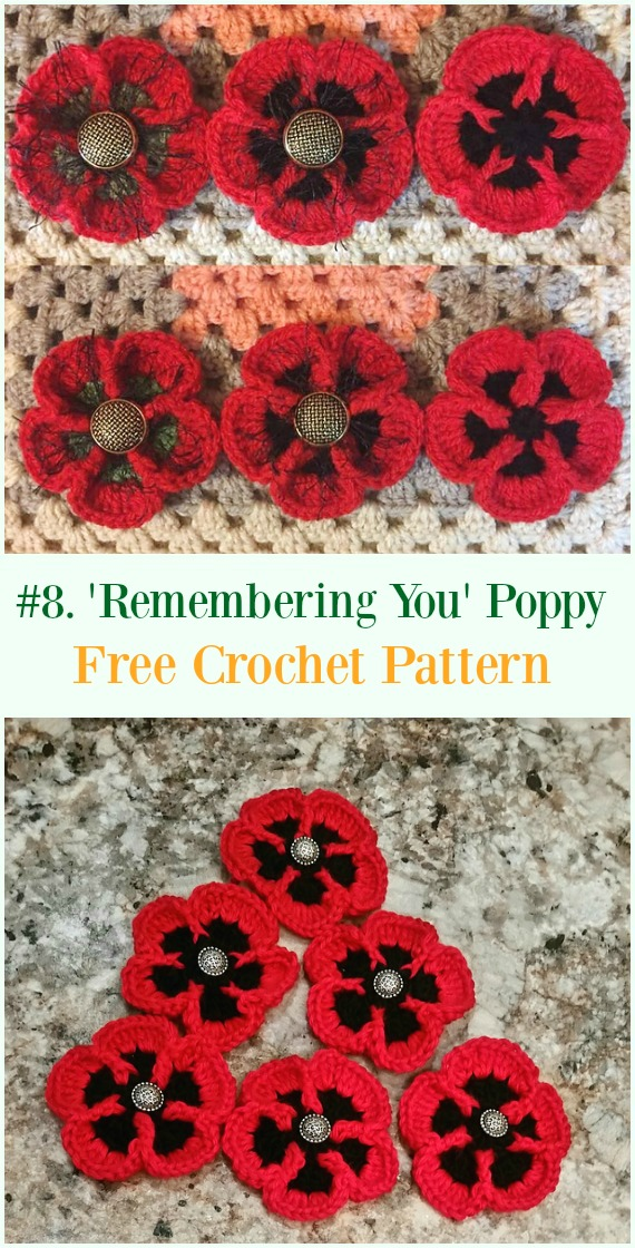 Crochet 'Remembering You' Poppy Flower Free Pattern - #Crochet #Poppy Flower Free Patterns