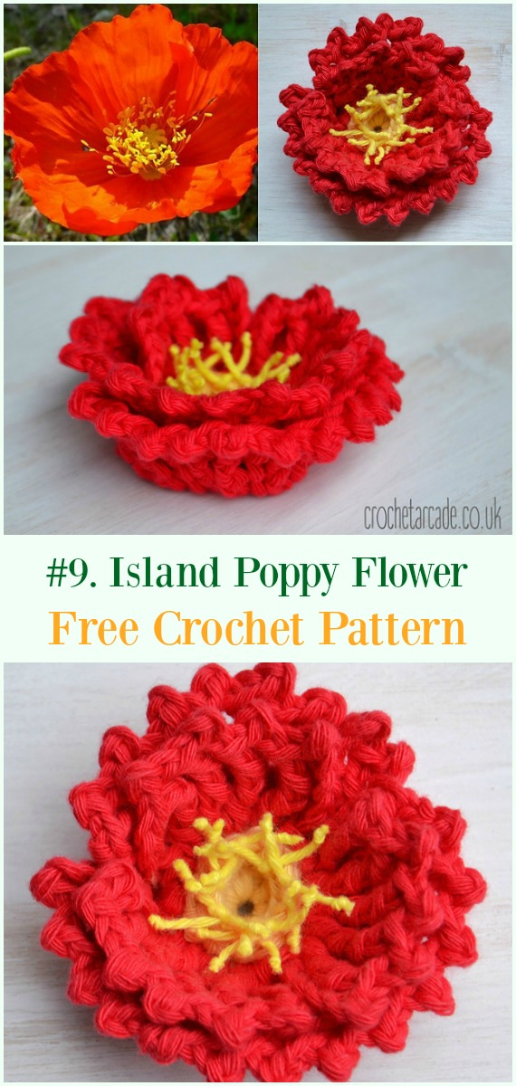 Crochet Island Poppy Flower Free Pattern - #Crochet #Poppy Flower Free Patterns