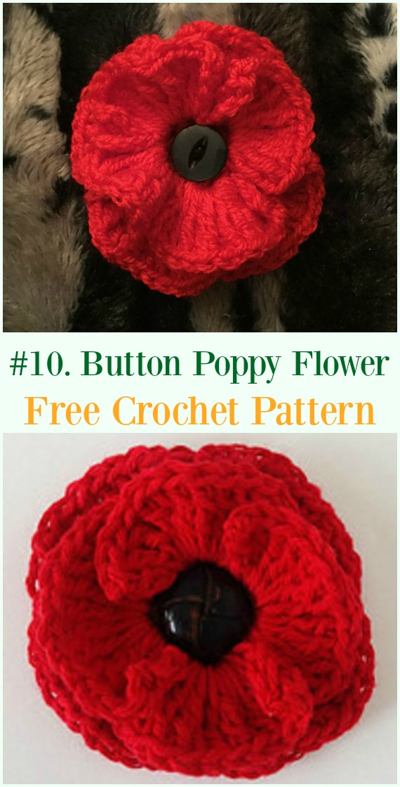 Crochet Button Poppy Flower Free Pattern - #Crochet #Poppy Flower Free Patterns