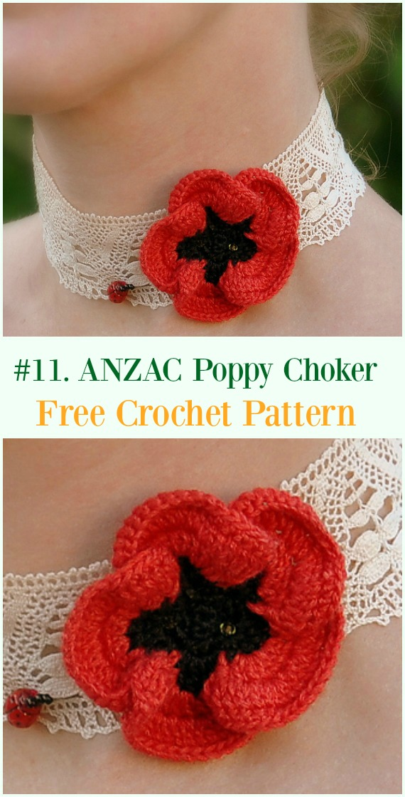 Crochet PANZAC Poppy Choker Free Pattern - #Crochet #Poppy Flower Free Patterns