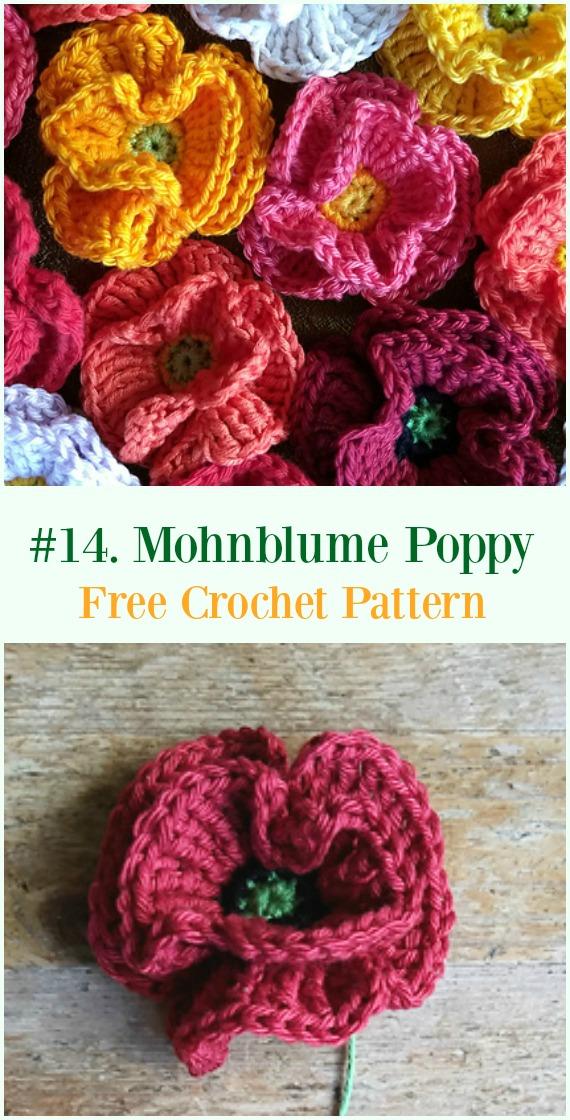 Crochet Mohnblume Poppy Flower Free Pattern - #Crochet #Poppy Flower Free Patterns