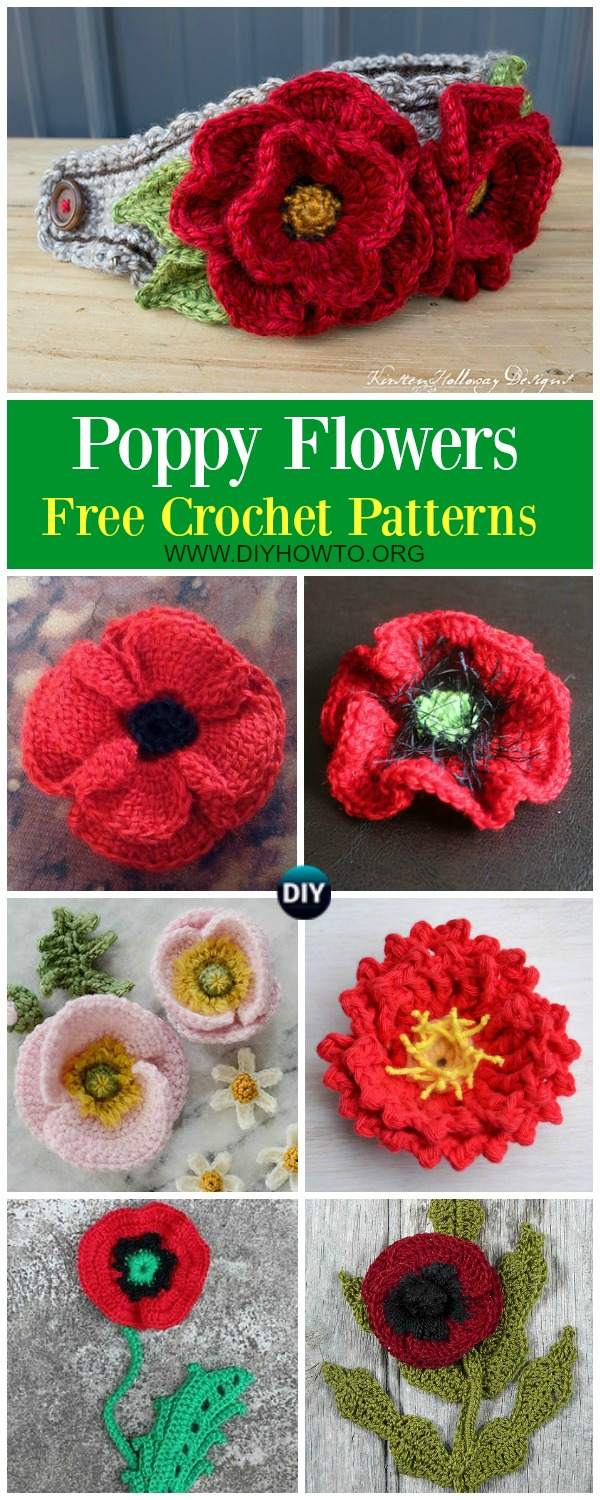Collection of Crochet Poppy Flower Free Patterns: Crochet Red Poppy, Poppy Flower Necklace Pendant, choker, headband, brooch, memorial day, Veteran day poppy flower