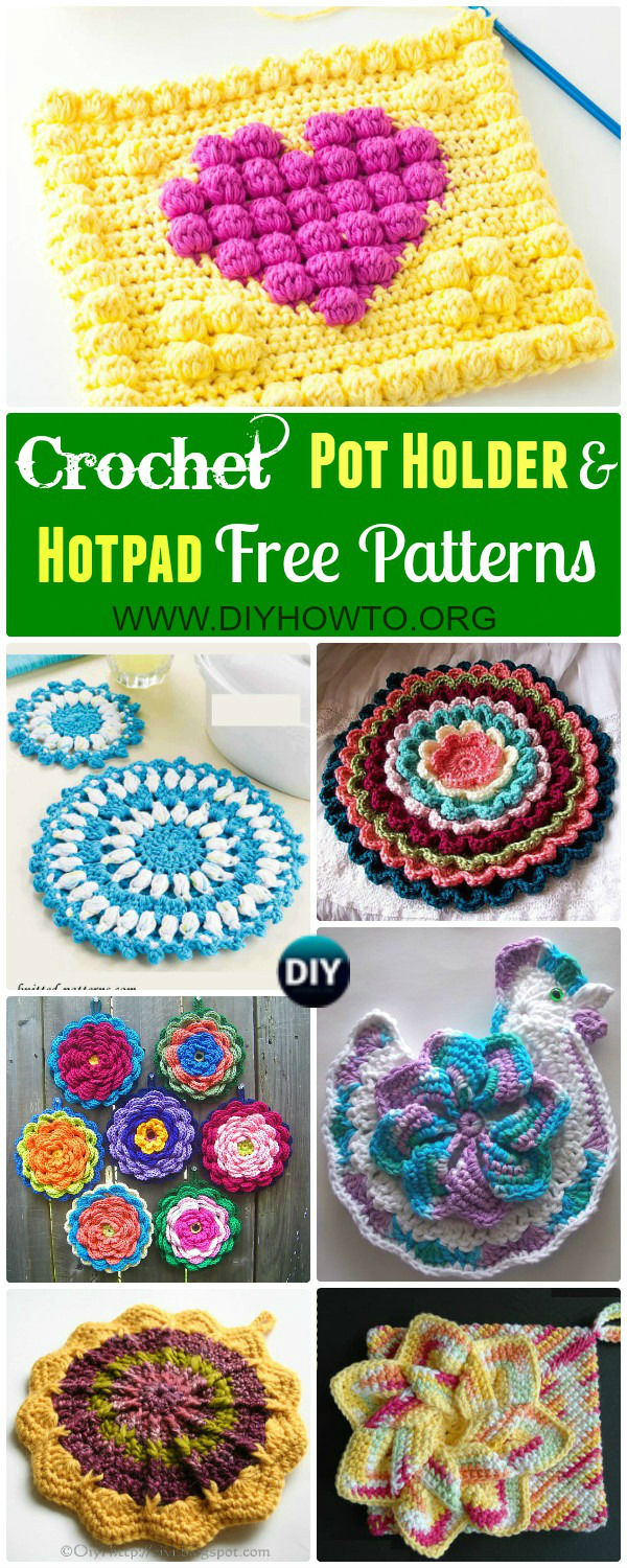 Collections of crochet pot holders and hotpads free patterns, square, circle, flower and animal.