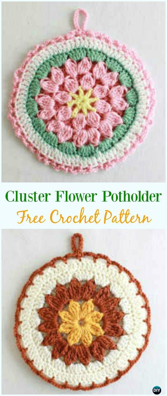 Crochet Cluster Flower Potholder Free Pattern- #Crochet; # Potholder Hotpad Free Patterns