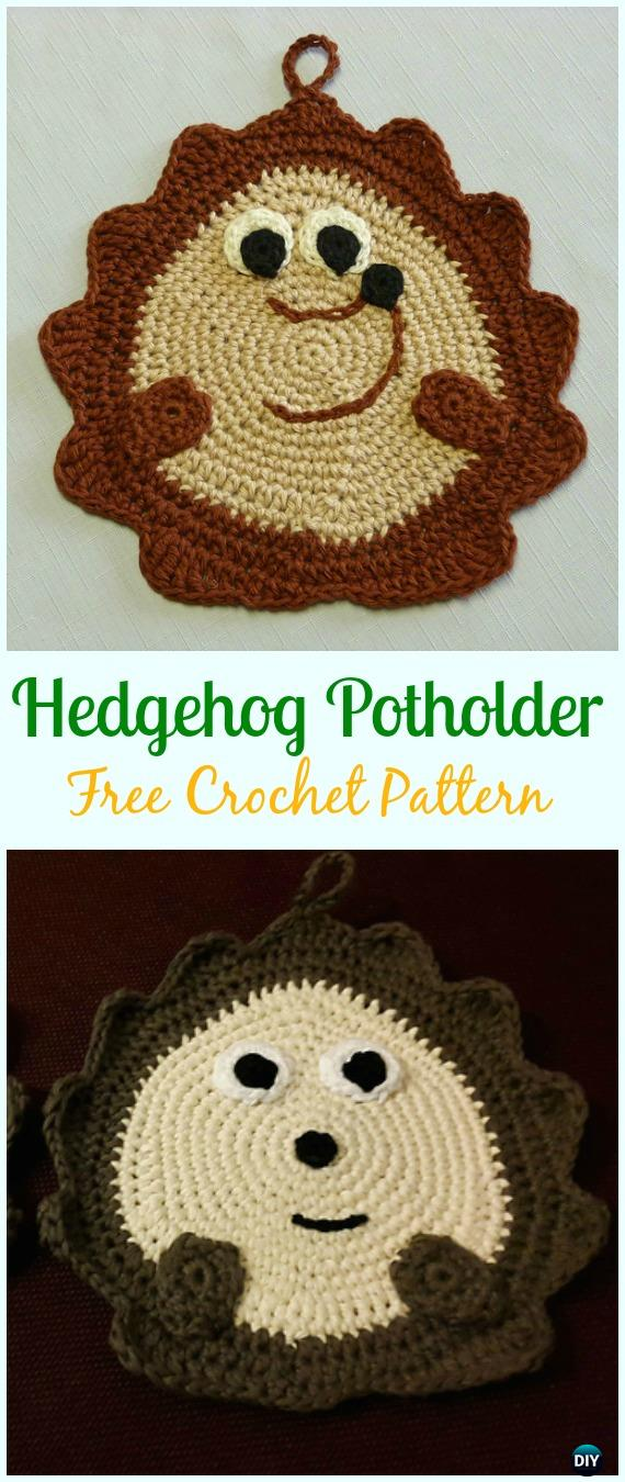 Crochet Hedgehog Potholder Free Pattern- #Crochet; # Potholder Hotpad Free Patterns
