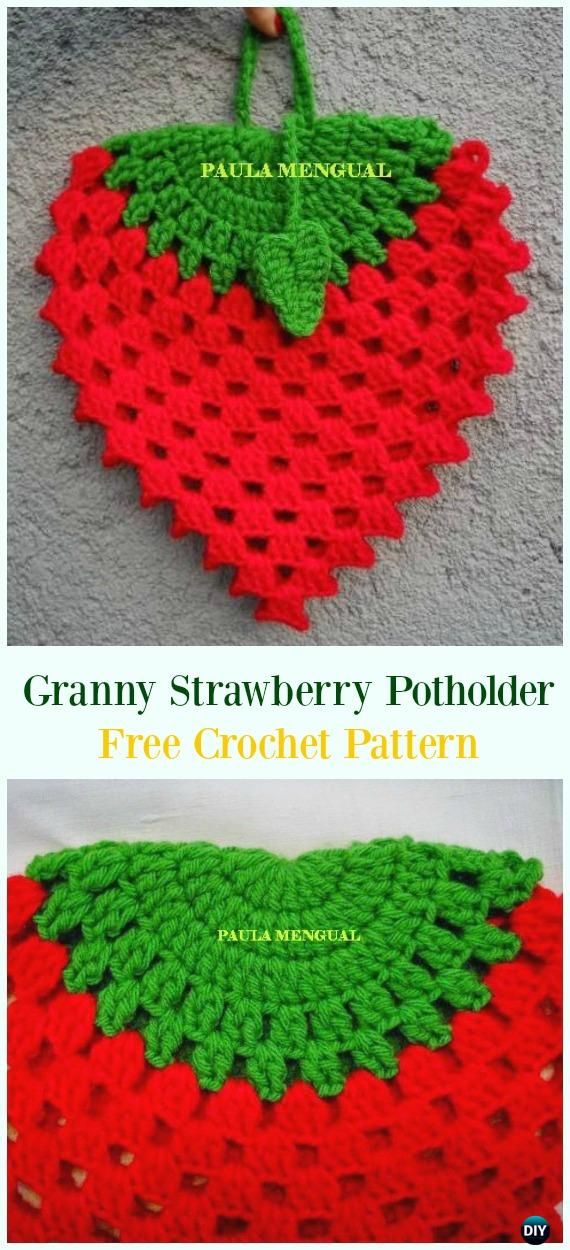 Crochet Granny Strawberry Potholder Free Pattern Crochet