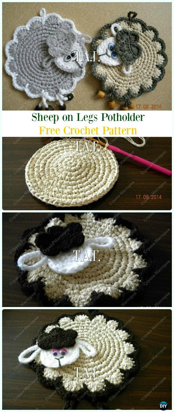Crochet Sheep on Legs Potholder Free Pattern- #Crochet; # Potholder Hotpad Free Patterns