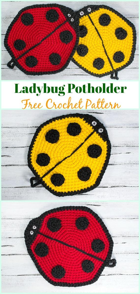Crochet Ladybug Potholder Free Pattern- #Crochet; # Potholder Hotpad Free Patterns