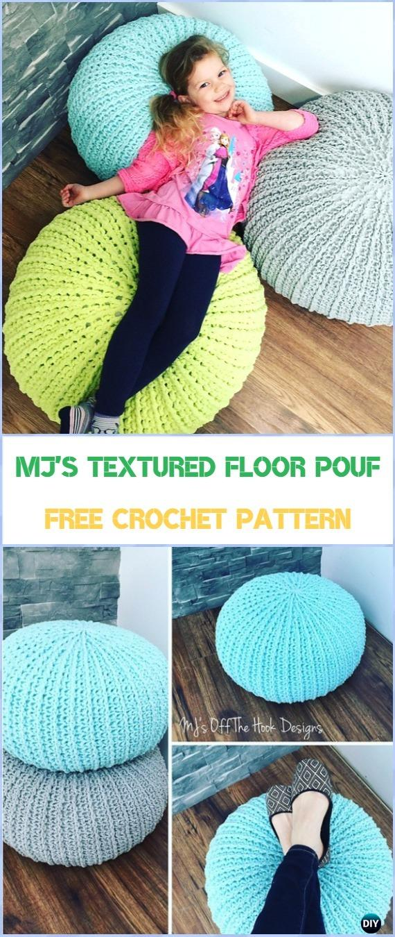 Crochet MJ's Textured Floor Pouf Free Pattern - Crochet Poufs & Ottoman Free Patterns