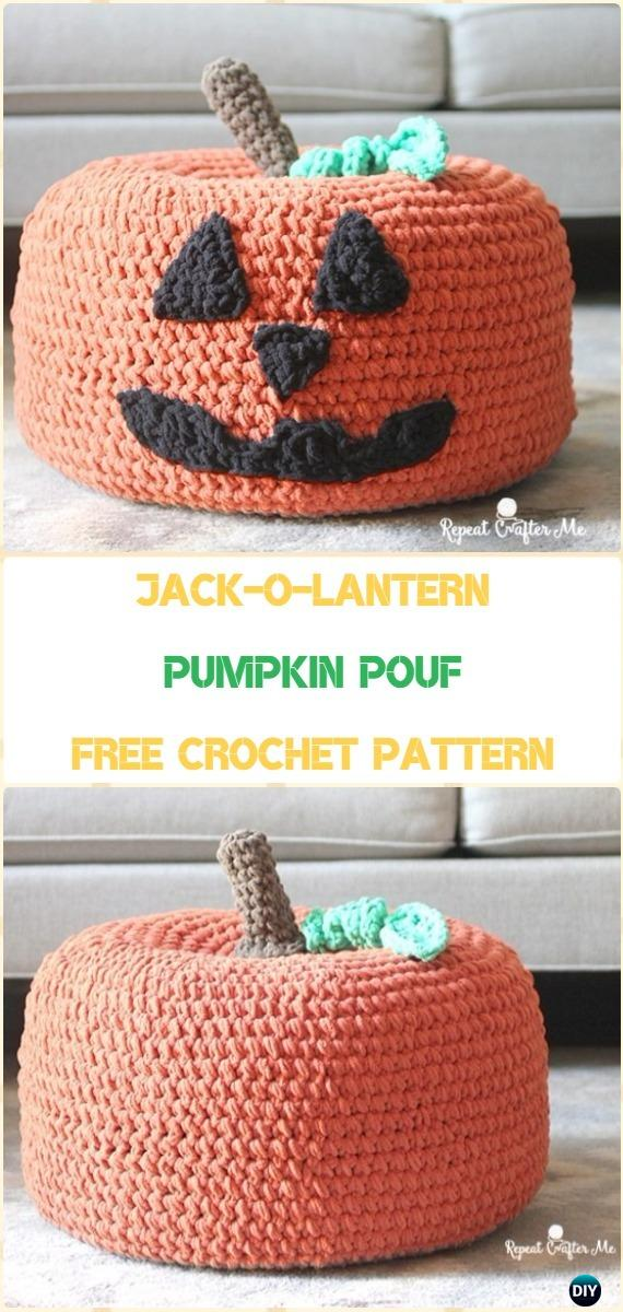 Crochet Pumpkin Pouf Free Pattern - Crochet Poufs & Ottoman Free Patterns
