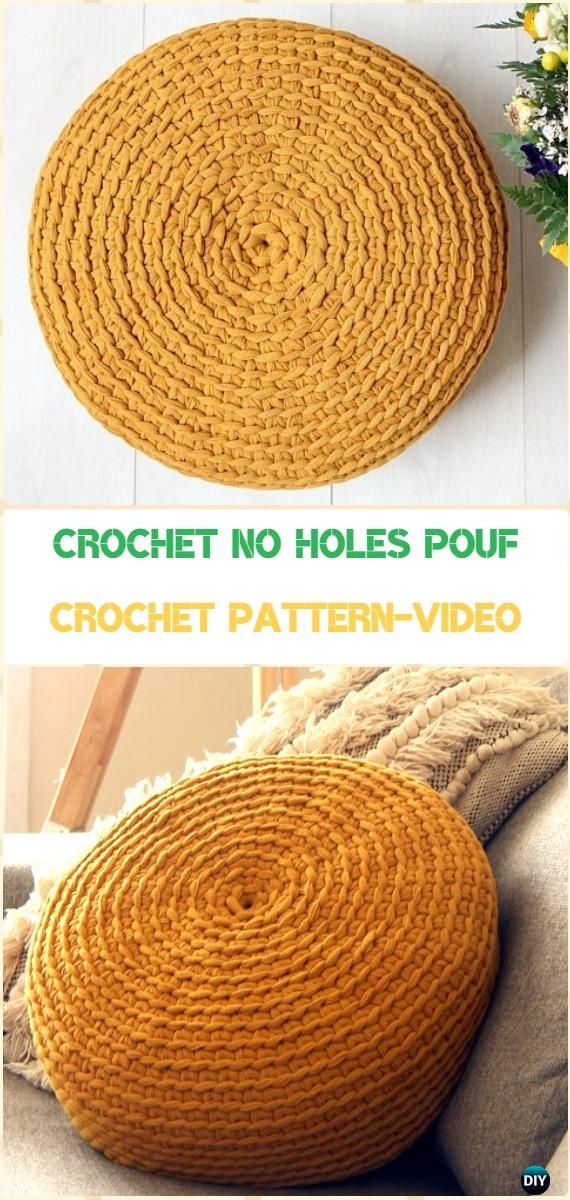 Crochet No Holes Pouf Cover Pattern Video Tutorial - Crochet Poufs & Ottoman Free Patterns