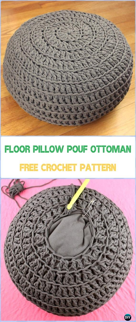 Crochet Floor Pillow Pouf Ottoman Tutorial Crochet Poufs