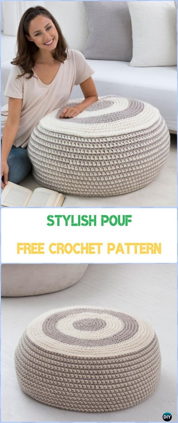 Crochet Stylish Pouf Free Pattern - Crochet Poufs & Ottoman Free Patterns