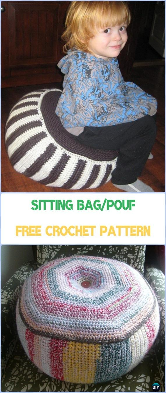 Crochet Sitting Bag/Pouf Free Pattern - Crochet Poufs & Ottoman Free Patterns