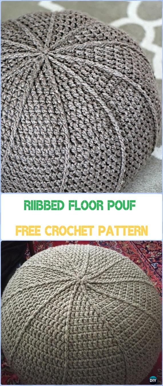 Crochet Poufs Ottoman Free Patterns DIY Tutorials Stunning Knitted Floor Pouf Pattern