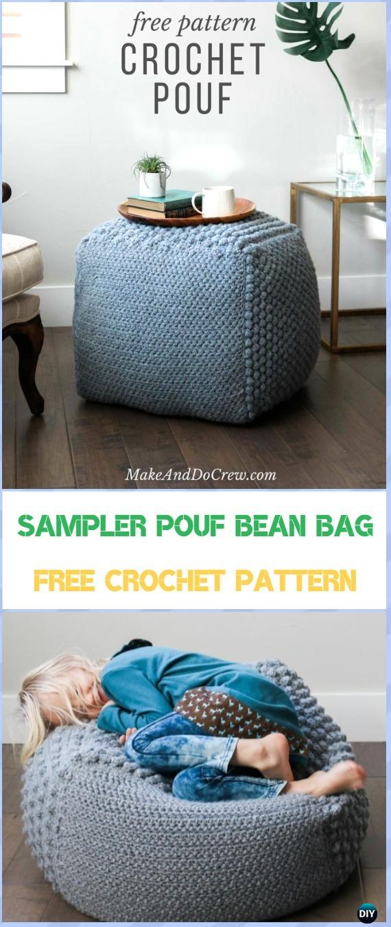 Crochet The The Sampler pouf Bean Bag Free Pattern &Video- Crochet Poufs & Ottoman Free Patterns