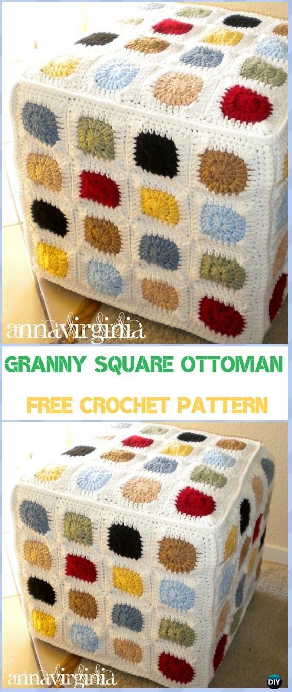 Crochet Granny Square Ottoman Cover Free Pattern - Crochet Poufs & Ottoman Free Patterns