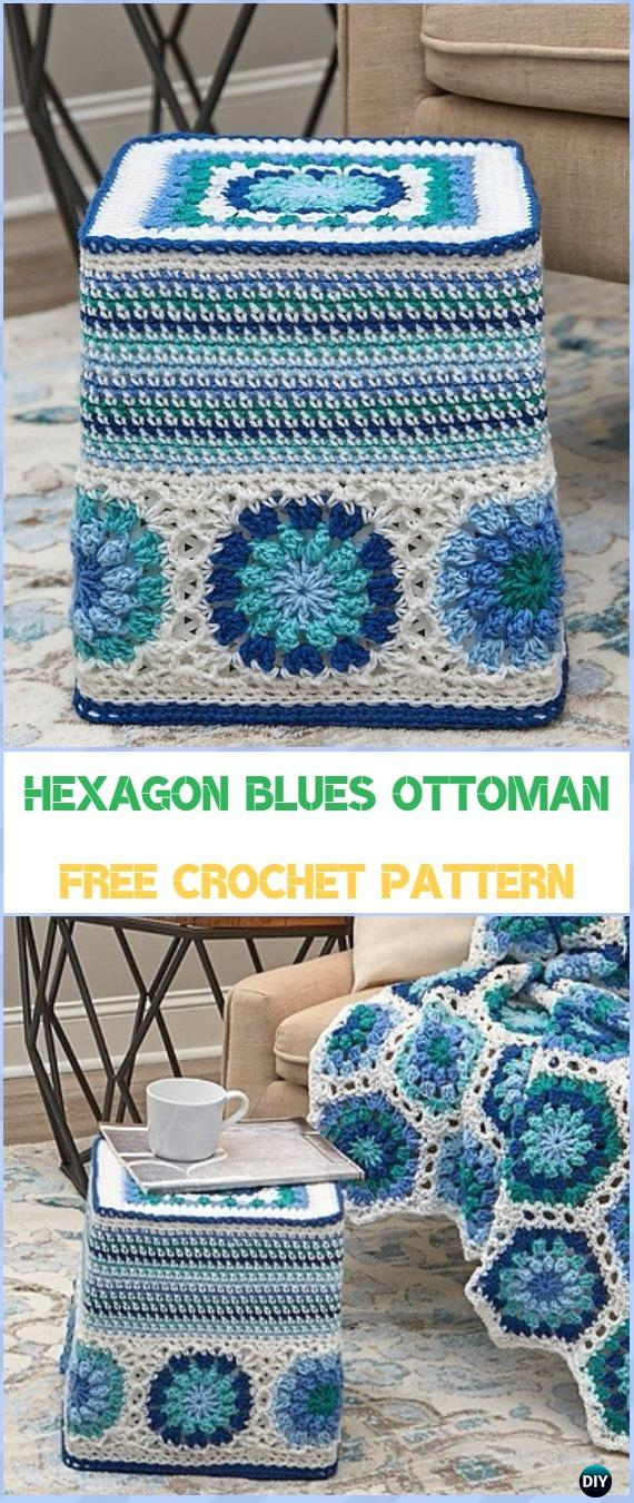 Crochet Hexagon Blues Ottoman Free Pattern - Crochet Poufs & Ottoman Free Patterns