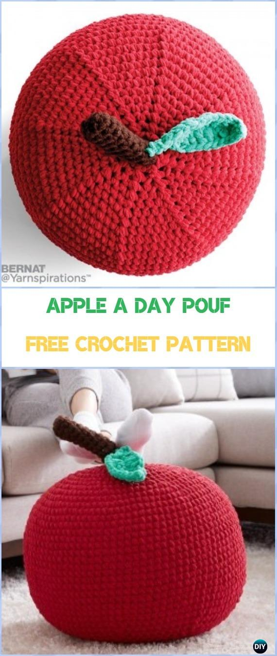 Crochet Apple A Day Pouf Free Pattern - Crochet Poufs & Ottoman Free Patterns
