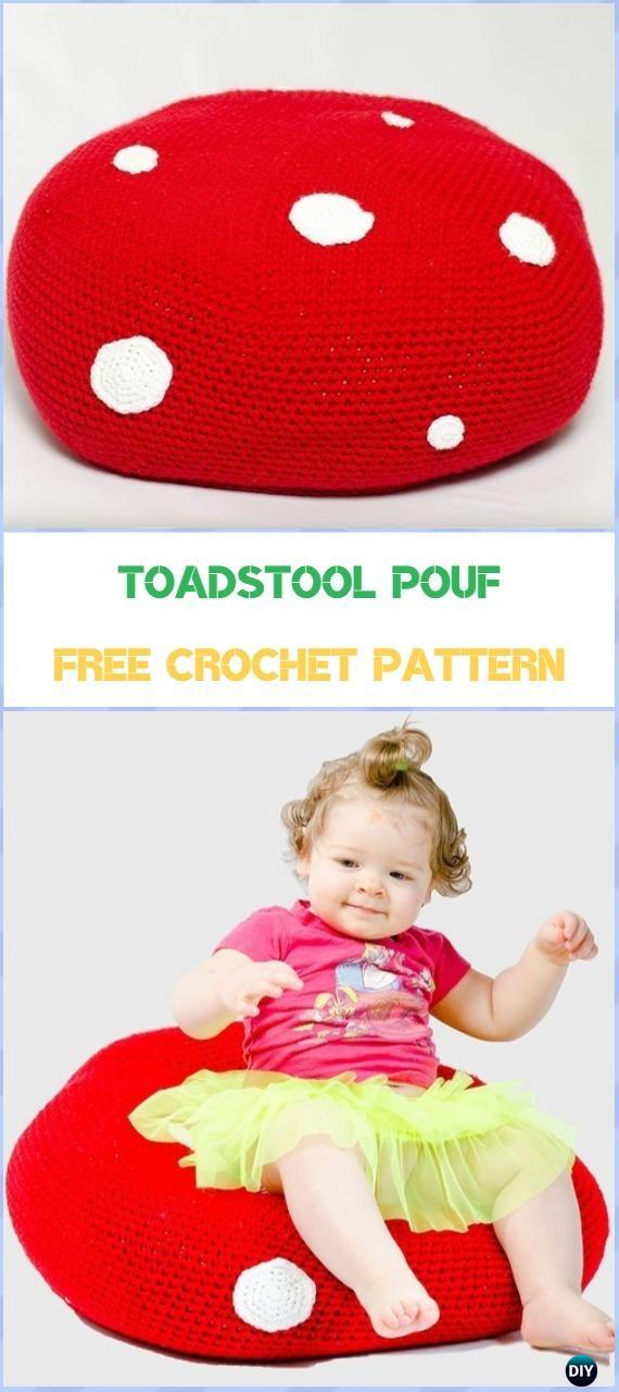 Crochet Toadstool Pouf Free Pattern - Crochet Poufs & Ottoman Free Patterns