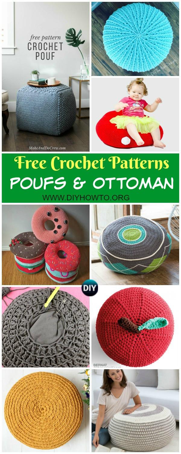 Crochet Poufs & Ottoman Free Patterns & DIY Tutorials