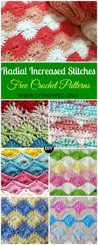 Crochet Increased Stitch Free Patterns: Star Stitch, Catherine Wheel Stitch, Shell Stitch, Clamshell Stitch, Scallop Stitch, Arcade, Harlequin Stitch