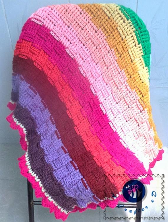 Crochet Woven rainbow baby blanket Free Pattern - Crochet Rainbow Blanket Free Patterns