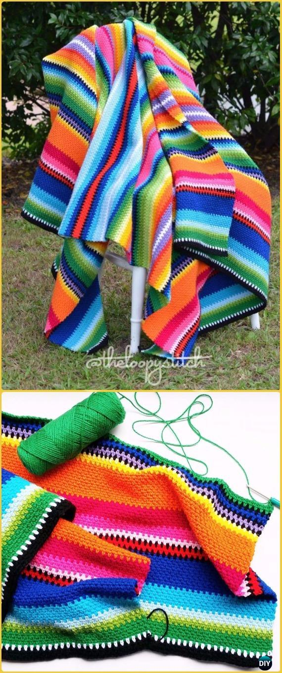 Crochet Loopy Stitch Mexican Inspired Blanket Free Pattern - Crochet Rainbow Blanket Free Patterns