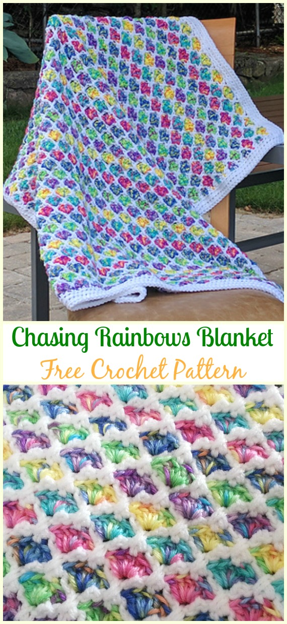 Crochet Chasing Rainbows Blanket Free Pattern - #Crochet; #Rainbow; #Blanket; Free Patterns