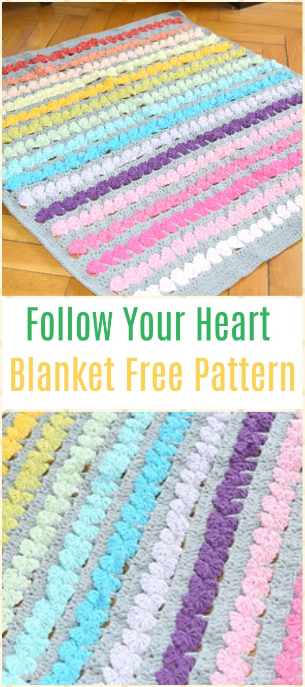 Crochet Follow Your Heart Blanket Free Pattern - Crochet Rainbow Blanket Free Patterns