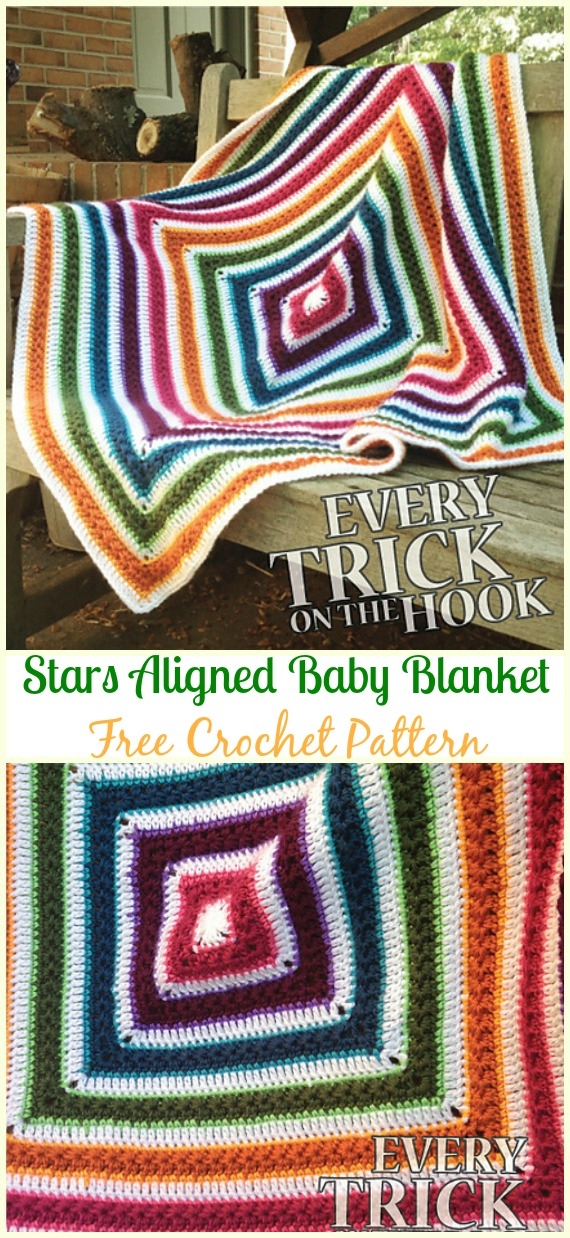 Stars Aligned Baby Blanket Free Crochet Pattern - #Crochet; #Rainbow; #Blanket; Free Patterns
